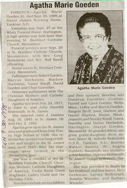 Agatha Marie <I>Reifenrath</I> Goeden