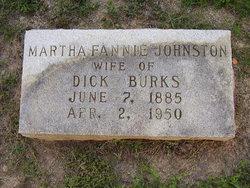 Martha Fannie <I>Johnston</I> Burks