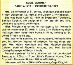 Elsie <I>Pringle</I> Warner