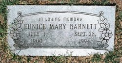 Eunice Mary <I>Hicks</I> Barnett