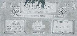 Mary Louise <I>Hohmann</I> Burlingame