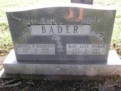 Mary Alice <I>Hinman</I> Bader