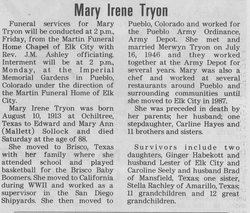 Mary Irene <I>Sollock</I> Tryon