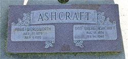 "Abigail ""Abby"" <I>Wordsworth</I> Ashcraft"
