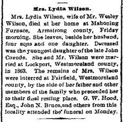 Lydia <I>Covode</I> Wilson