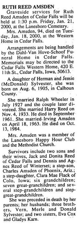 Ruth Reed <I>Sylvester</I> Amsden