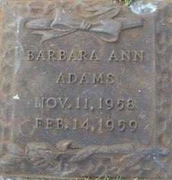 Infant Barbara  Ann Adams