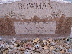 Sadie Elizabeth <I>Browder</I> Bowman