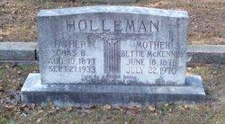 """Margaret Elizabeth """"Bettie"""" <I>McKenney</I> Holleman"""