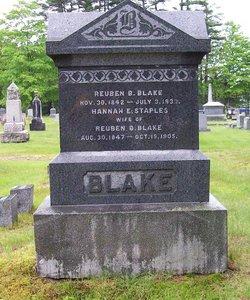 Hannah E <I>Staples</I> Blake
