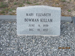Mary Elizabeth <I>Bowman</I> Killam