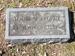 "Sarah Virginia ""Jennie"" <I>Wilkenson</I> Argent"