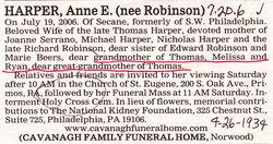 Anne E <I>Robinson</I> Harper