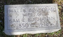 Mattie Delia <I>Blackman</I> Buchanan