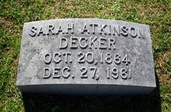 Sarah <I>Atkinson</I> Decker