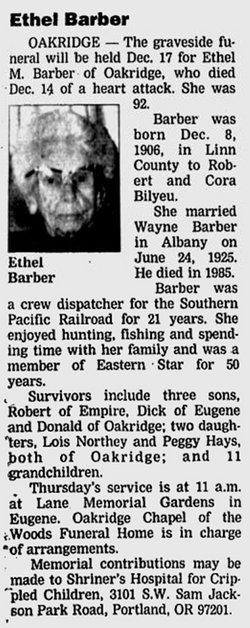 Ethel M. <I>Bilyeu</I> Barber