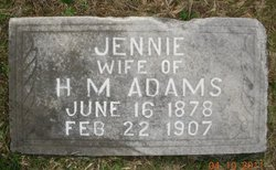 Jennie <I>Hall</I> Adams