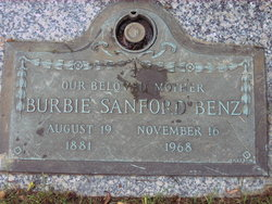 "Mrs Bervas Moor ""Burbie"" <I>Sanford</I> Benz"