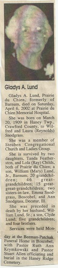 Gladys A. <I>Snodgrass</I> Lund