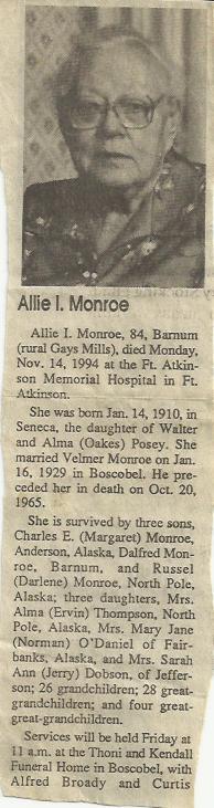 Allie Inez <I>Posey</I> Monroe