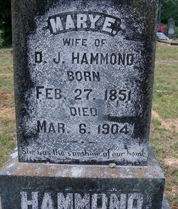 "Mary Elizabeth ""Lizzie"" <I>Mills</I> Hammond"