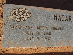 "Sarah Ann ""Betty"" <I>Howard</I> Hagar"