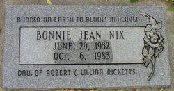 Bonnie Jean <I>Ricketts</I> Nix