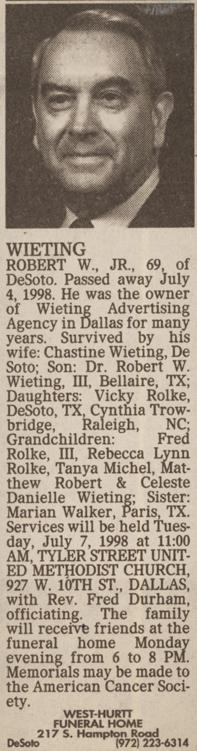 """Robert William """"Bob"""" Wieting, Jr"""