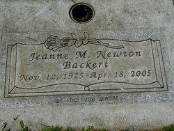 Jeanne M <I>Newton</I> Backert