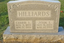 Carrie Lee <I>Cubbage</I> Hilliards