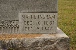 "Mattie Ann ""Martha"" <I>Ingram</I> Bingham"
