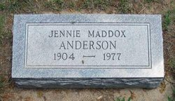 Jennie Botts Maddox <I>Botts</I> Anderson
