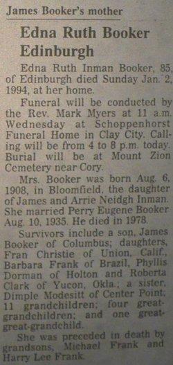 Edna Ruth <I>Inman</I> Booker