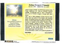 """Joshua Gregory """"Josh"""" Chanaki"""
