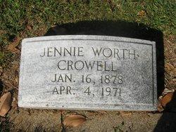 Jennie McTyeire <I>Worth</I> Crowell