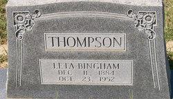 Leta <I>Bingham</I> Thompson