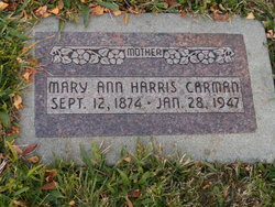 Mary Anne Elizabeth Corner <I>Harris</I> Carman