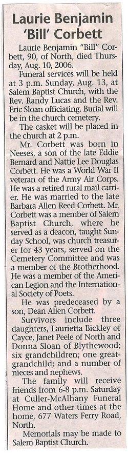 "Laurie Benjamin ""Bill"" Corbett"