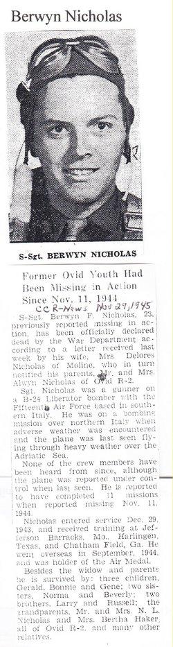 SSgt Berwyn F Nicholas