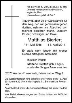 Matthias Bierfert 1936 2011 Find A Grave Memorial