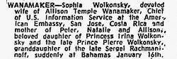 Mrs Sophia Petrovna <I>Wolkonsky</I> Wanamaker