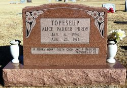 "Alice ""Topeseup"" <I>Parker</I> Purdy"