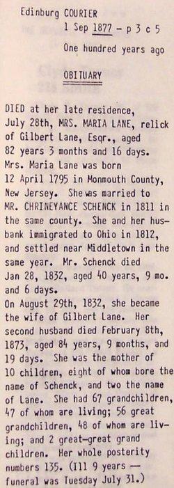 Maria <I>Schenck</I> Lane