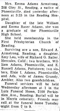 Emma <I>Adams</I> Armstrong