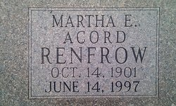 Martha Emiline <I>Ray</I> Acord-Renfrow