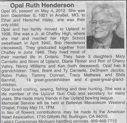 Opal Ruth <I>Haley</I> Henderson