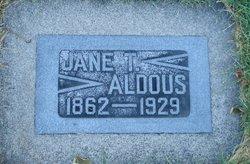 """Jane """"Jennie"""" <I>Thornley</I> Aldous"""
