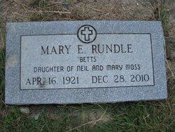 """Mary Elizabeth """"Betts"""" <I>Moss</I> Rundle"""