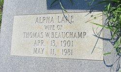 Alpha <I>Lane</I> Beauchamp