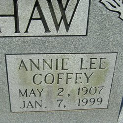 Annie Lee <I>Coffey</I> Bradshaw